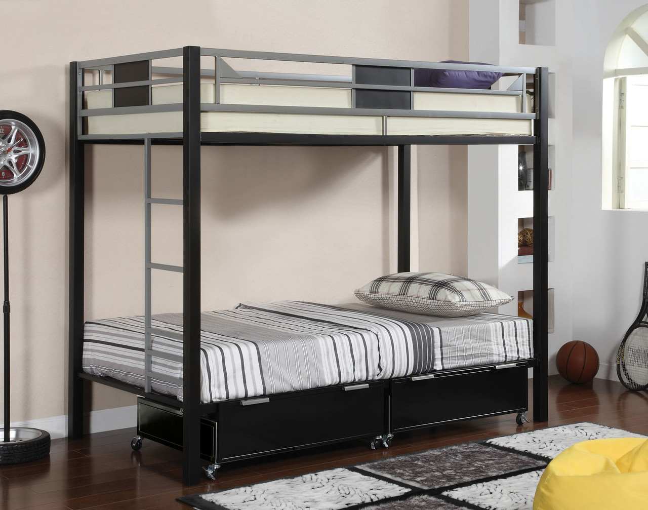 Clifton Black Silver Twin Metal Bunk Bed Under Bed Drawers
