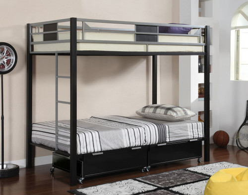 Clifton Black Silver Twin Bunk  | Furniture of America BK1021 with Drawers