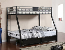 Black Silver Twin Full Bunk Bed | Furniture of America BK1022 with Drawers