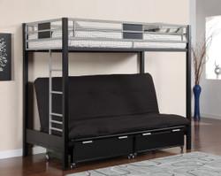Clifton Black Silver Twin Metal Futon Bunk Bed | Furniture of America BK1024 Futon Bunk Bed