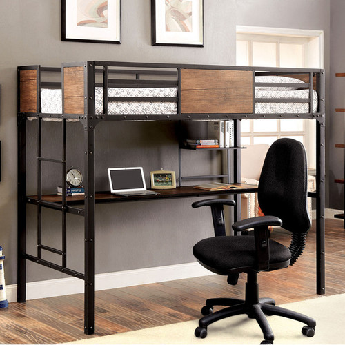 Furniture of America Twin Loft Bed w/ Workstation Below | Industrial Style Loft Beds with Desk