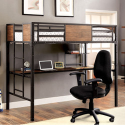 Furniture of America Twin Metal Loft Bed w/ Workstation Below | Industrial Style