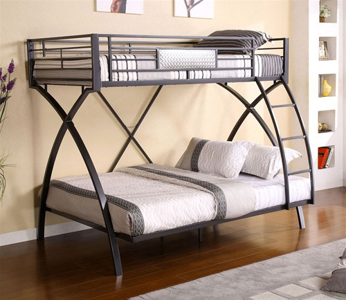 Jordan Chrome Dark Gray Twin Full Bunk Bed Bunk With Full On Bottom