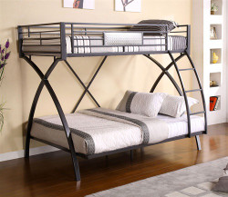 Chrome Dark Gray Twin Full Bunk Bed | Bunk with Full on Bottom