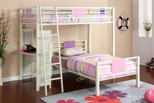 White Pink Twin Loft Bed with Desk