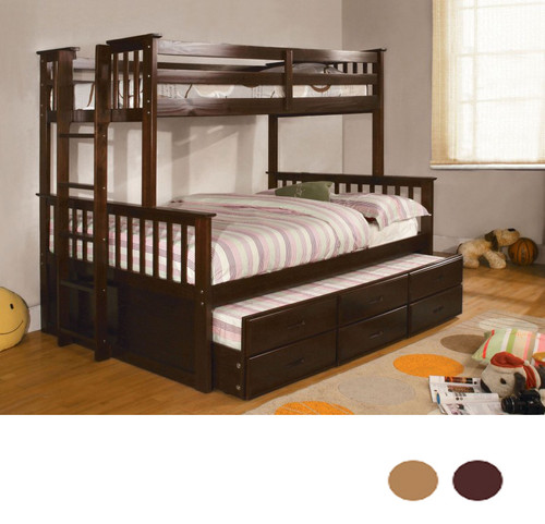 Luke Espresso Twin Full Bunk Bed with Trundle and Drawers