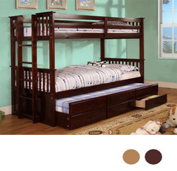 Espresso Twin Bunk Bed with Trundle and Drawers