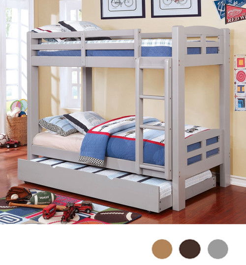 Wood Gray Twin Bunk Bed With Optional Trundle