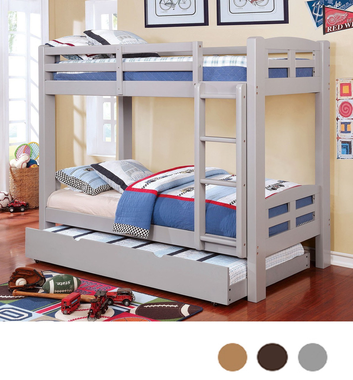 Acey Twin Bunk Bed With Trundle In Gray Espresso