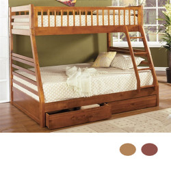Lucas Oak Wood Twin Full Bunk Bed with Drawers