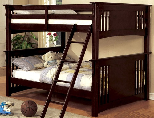 Full-Size Bunk Bed with Ladder in Dark Walnut
