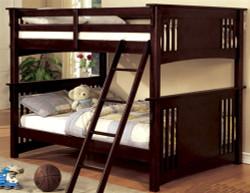 Full-Size Bunk Bed with Ladder in Dark Walnut