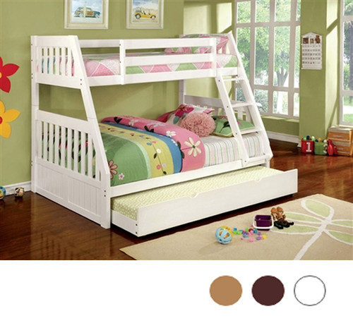 Richfield White Twin Over Full Bunk Bed | Furniture of America CM-BK607WH