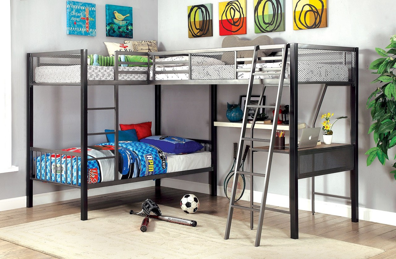 Picture of: Ballarat L Shaped Triple Twin Bunk Bed With Workstation Below