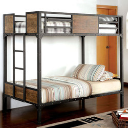 Furniture of America Industrial Metal Wood Twin over Twin Bunk Bed