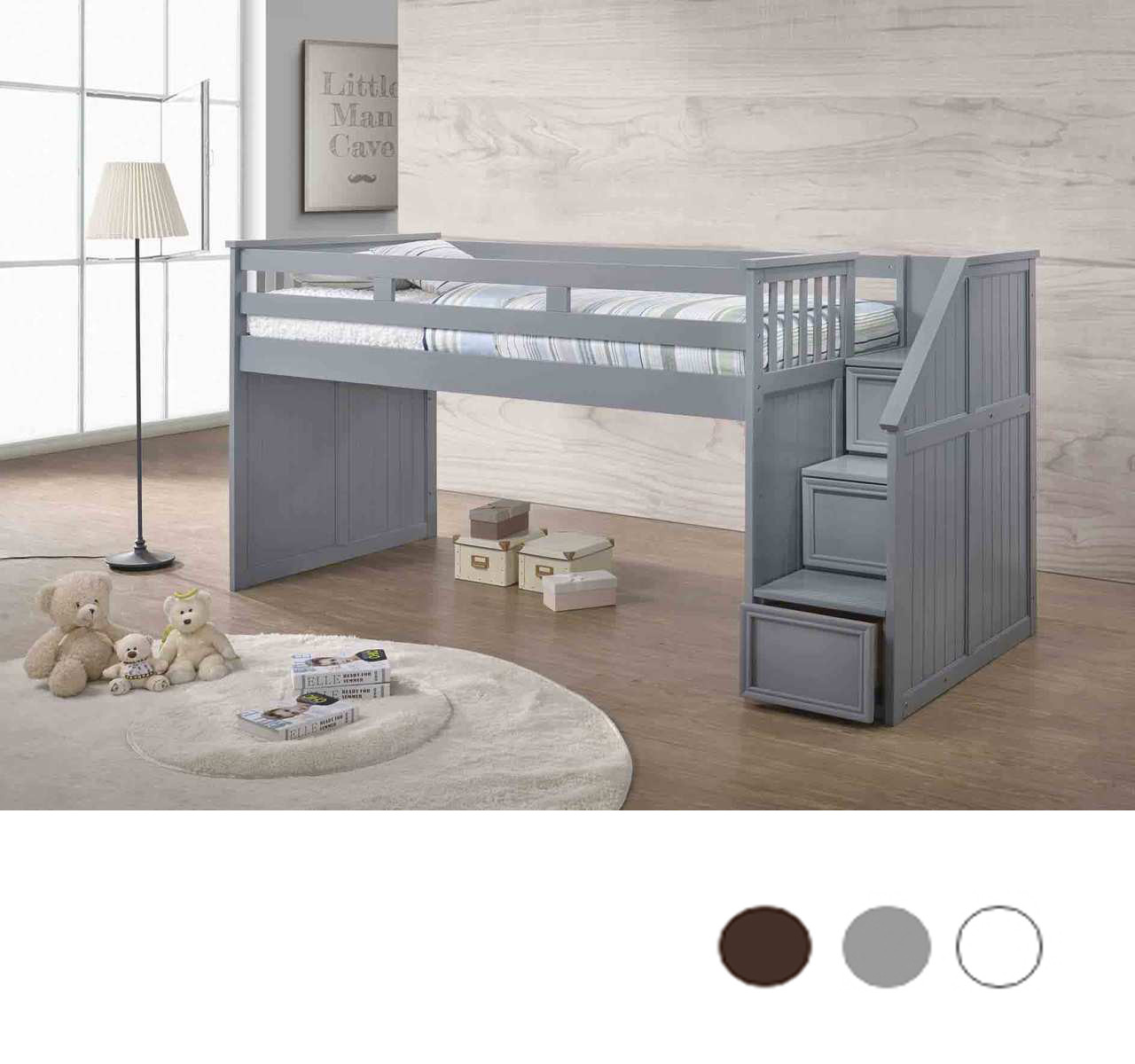 Merveilleux Gray Low Twin Loft Bed With Stairs And Storage ...