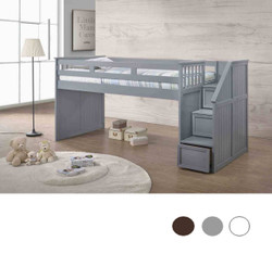 Gray Low Twin Loft Bed With Stairs and storage