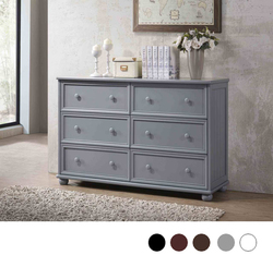 Dillon Bead Board 6-Drawer Dresser in Gray Finish