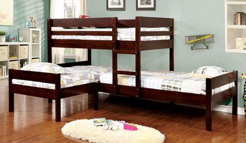 Corner Triple Twin Bed in Espresso   Furniture of America BK626
