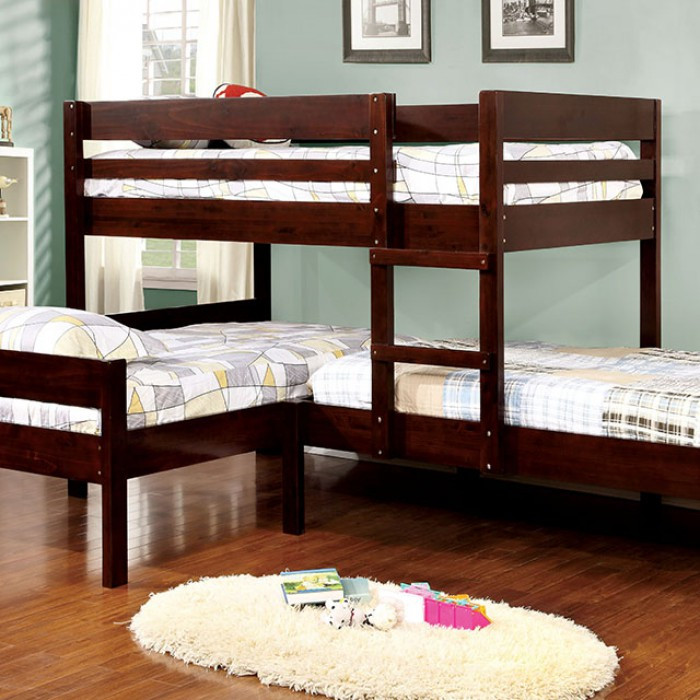 Corner Triple Twin Bunk Bed In Espresso Bunk Bed For 3 Reviews