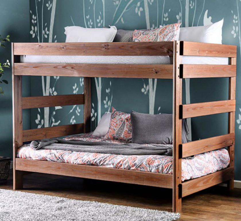 Julian Plank Style Rustic Full Size Bunk Bed