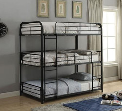 Tyler Tube 3 High Bunk Bed in Twin and Full Size