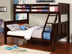 Zachary Twin Queen Bunk in Dark Walnut