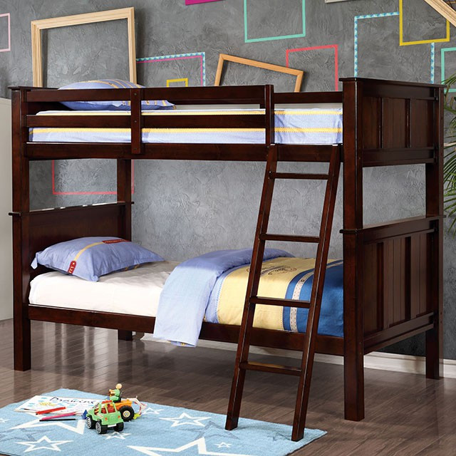 Zachary Twin Bunk Bed In Dark Walnut