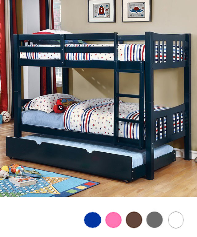 Felix Twin Bunk Bed In White Blue Green And Pink