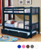 Felix Navy Blue Twin over Twin Bunk Bed | Twin Convertible Bunk