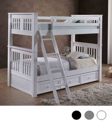 Gary XL Extra Long Twin Bunk Bed in White Shown with Trundle | XL Bunk Beds