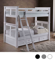 Gary XL Extra Long Twin Bunk Bed in White Shown with Trundle   Detachable XL Bunk Beds
