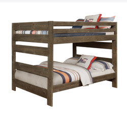 Grayson Solid Wood Full Size Bunk Bed with trundle in Gun Smoke | Full over Full Bunk