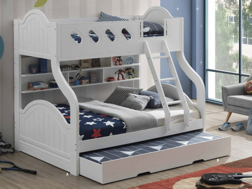 Kinsley Twin over Full Arch Bunk in White with Optional Trundle