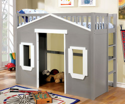 House Inspired Twin Loft Bed In Gray Finish | Fun House-Themed Bed with Play Area Below