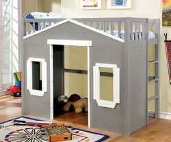 House Inspired Twin Loft In Gray Finish | Fun House-Themed Bed with Play Area Below