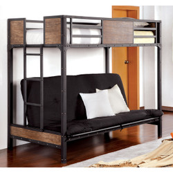 Furniture of America Industrial Metal Wood Futon Bunk Bed | BK029TS