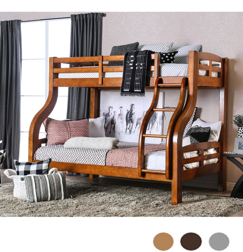 Oak Finish Wood Twin over Full Bunk Bed