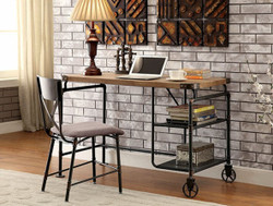 Industrial Style Piping Metal Wood Writing Desk | Furniture of America Desk DK6913