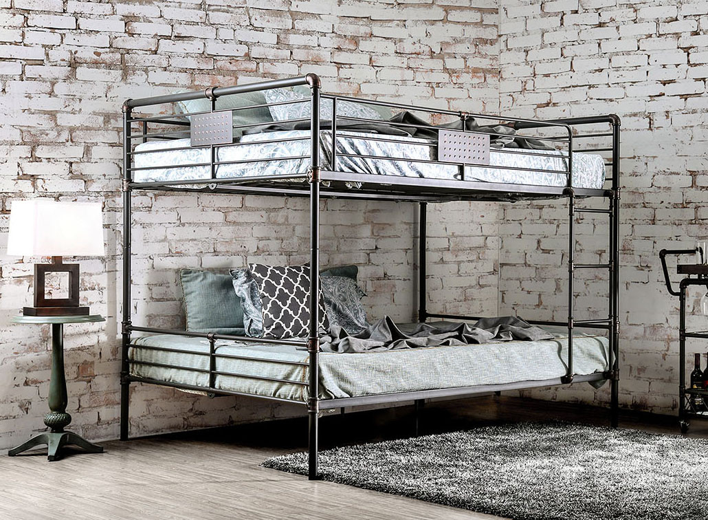 Picture of: Industrial Piping Queen Over Queen Metal Bunk Bed For Sale