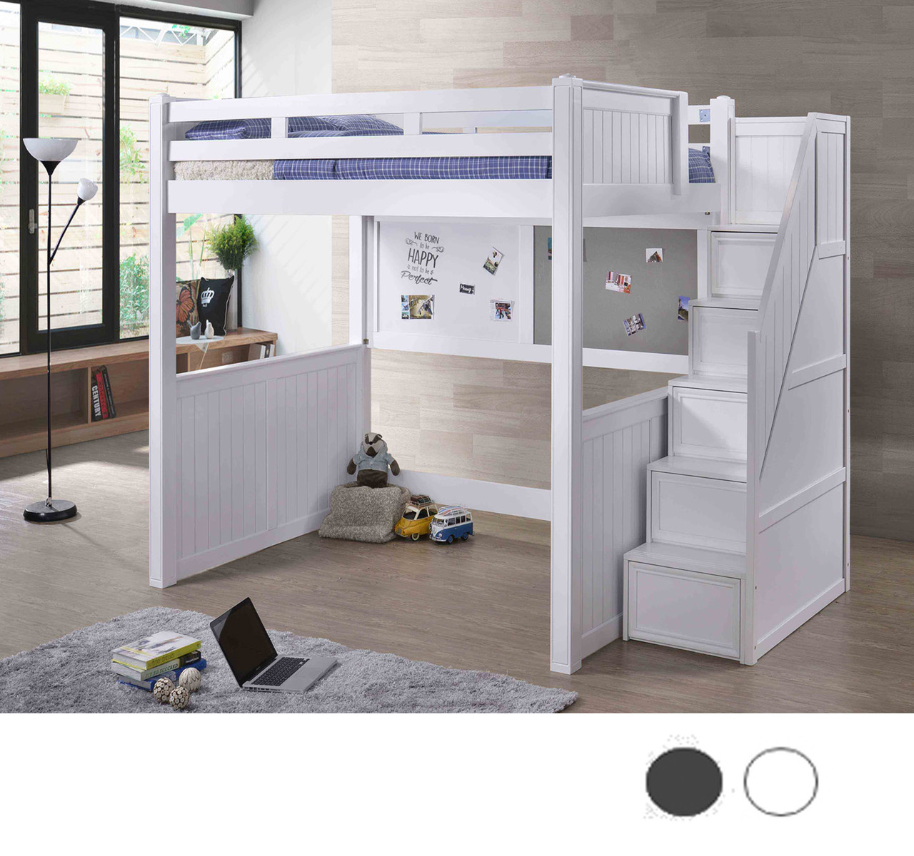 Dillon White Full Size Loft Bed With Steps Loft Beds For