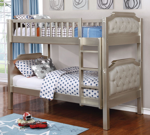 Spencer Champagne Light Gray Twin Bunk Bed | Twin Bunk with Padded Headboards