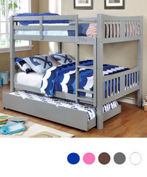 Convertible Felix Gray Wood Full Bunk Bed with Trundle