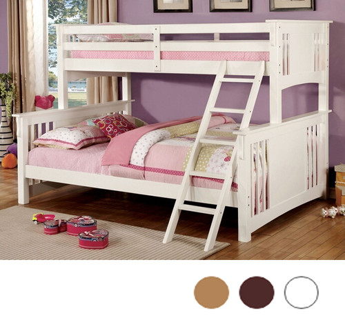 Dark White Long Twin Over Queen Bunk Bed | Timeless Style