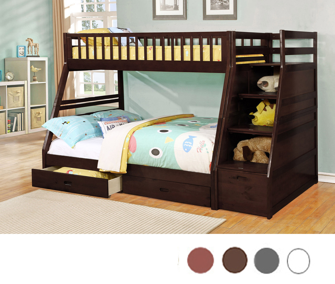 Espresso Twin Over Full Bunk Bed With Staircase U0026 Drawers | Bunk Bed With  Staircase ...