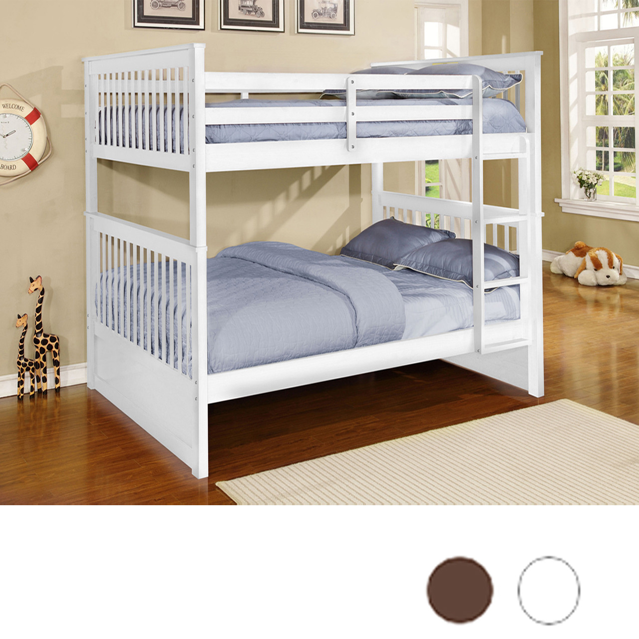 Aspen Mission Full Size Bunk Bed White Espresso