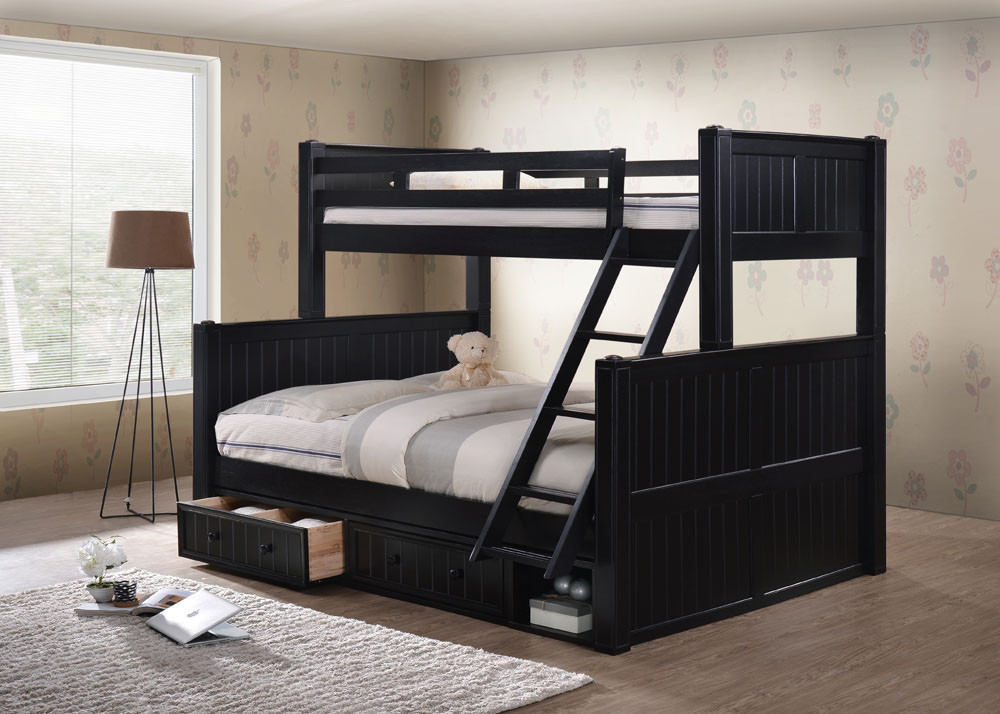 Dillon Extra Long Twin Over Queen Bunk Bed With Storage Drawers
