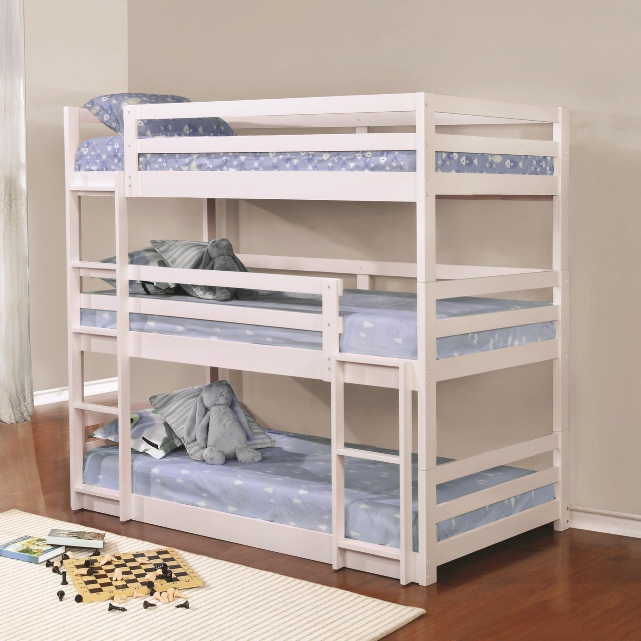 buy popular d9603 a7979 Wood Triple Decker Bed in White Finish