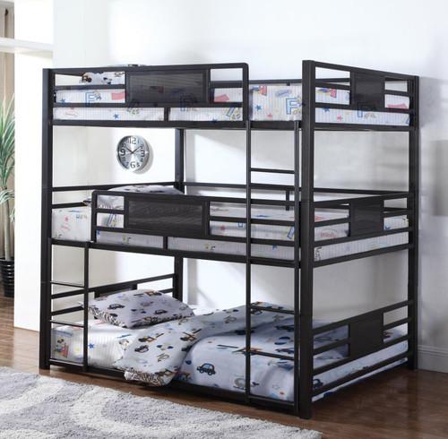 Jordy Dark Bronze Steel Full Size Three Level Bunk Bed | Convertible Steel 3 Decker Bed