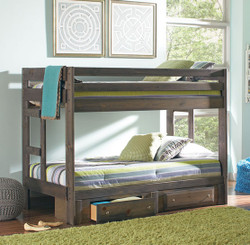 Grayson Twin over Twin Bunk Bed in Gun Smoke